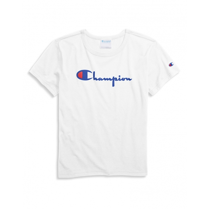 Champion Women's The Heritage T-Shirt: White/Blue - WL1873-551058-0