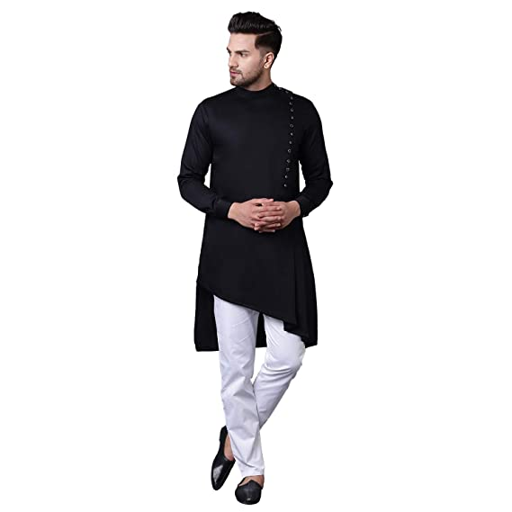 Buy I Know Modern Jama Style Asymmetric Black Men's Kurta with .