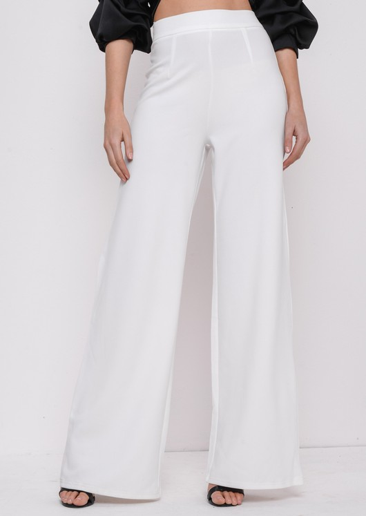 High Waisted Cream Wide Leg Palazzo Trousers White | Lily Lulu Fashi
