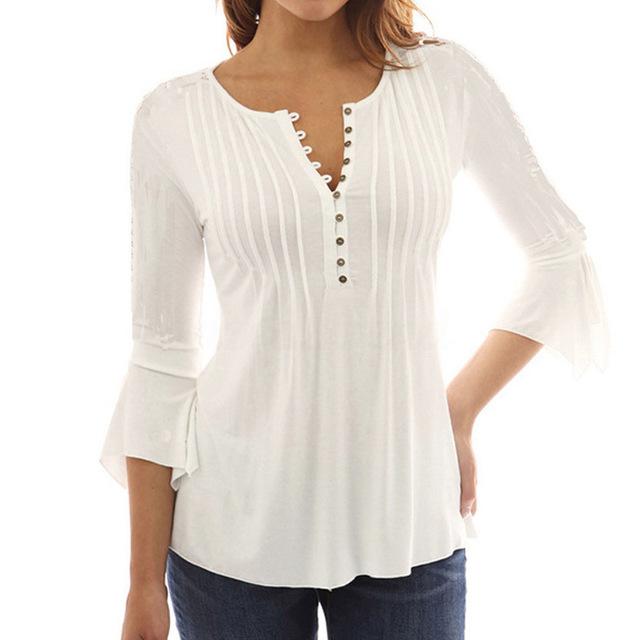 Summer Ladies White Tunic Tops Long Sleeve Ruffle Blouse Plus Size .