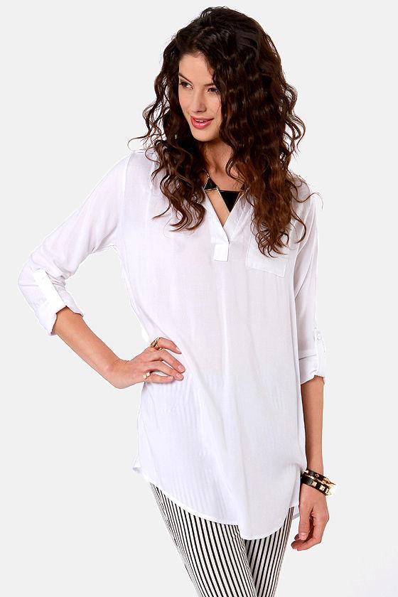 Cute White Tunic Top - Mini Dress - $36.