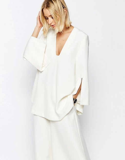 ASOS WHITE Tunic Top With Square V-Neck | AS