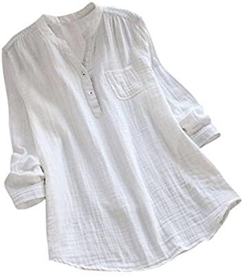 Amazon.com: EnjoCho Women Stand Collar V-Neck Long Sleeve T Shirt .