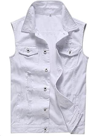 Only Faith Men's White Jeans Vest Fashion Sleeveless Denim Jacket .