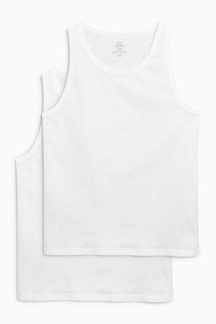 Buy White Vests Pure Cotton Two Pack from Next U