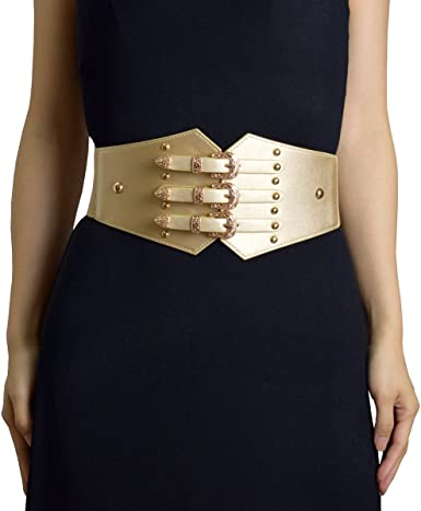 Amazon.com: ZIFEIYU Women Vintage Leather Elastic Waist Belt .
