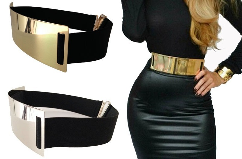 Fashion Gold Silver Wide Belts for Wom