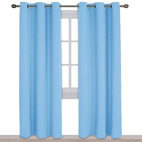 Double Window Curtains in Blue: Amazon.c