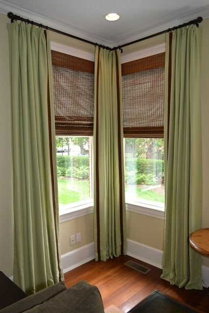 Corner window curtains | Window curtains living room, Window .