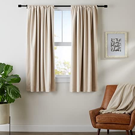 "Amazon.com: AmazonBasics Blackout Curtain Set - 52"" x 63"", Grey ."