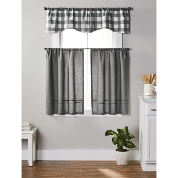 Better Homes & Gardens Checks N Solids 3-Piece Kitchen Window .
