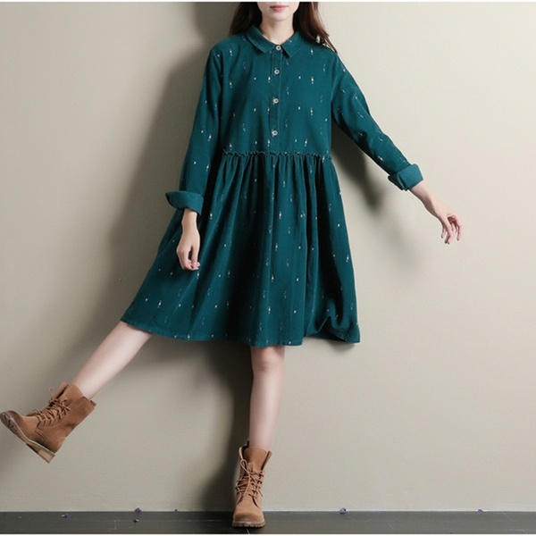 Winter Dresses Green Color Long Sleeve Casual Loose Plus Size .
