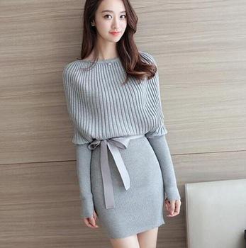 Zm31880a Trendy Women Knitting Pattern Tight Dress Warm Winter .