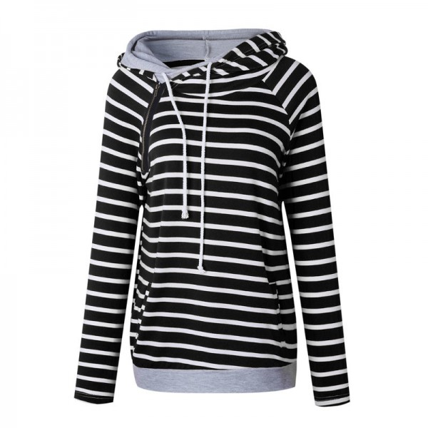 Buy Women Striped Hoodies Sweatshirts 2019 Autumn Winter Fashion .