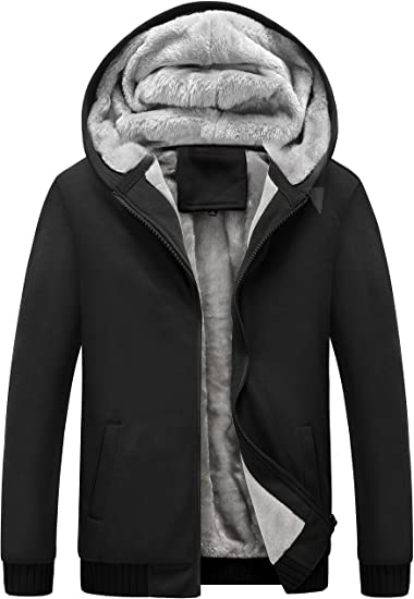Yeokou Men's Winter Thicken Fleece Sherpa Lined Zipper Hoodie .