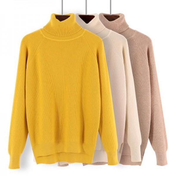 Buy New Korean Style Women Sweaters Chic Knitted Turtleneck .