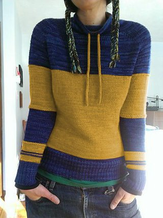Color-Block Crew Neck Acrylic Casual Sweaters - JustFashionNow.c