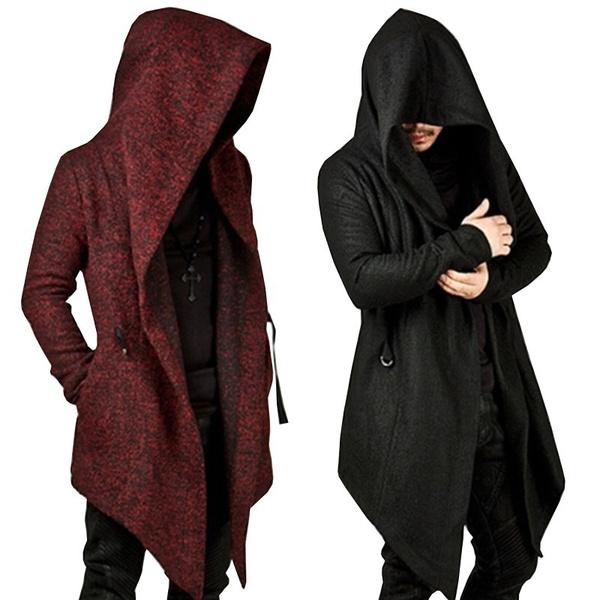 NEW Fashion Men Autumn Winter Tops Long Sleeve Hooded Long Coat .