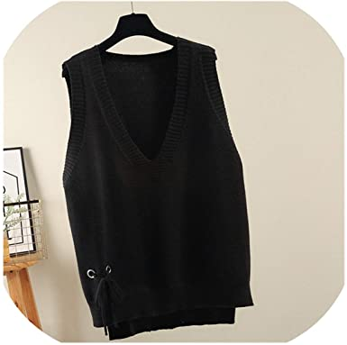 Jfoier sweater vest Autumn Winter Vests for Women V Neck Loose .