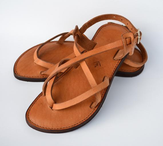 Leather sandals women's sandals camel sandals brown | Et