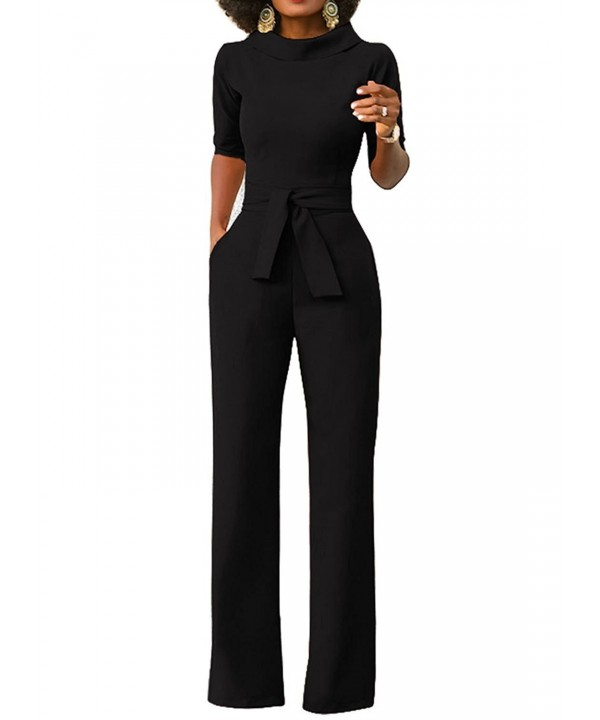 Womens Wide Leg Jumpsuits High Waist Solid Color Elegant Long .