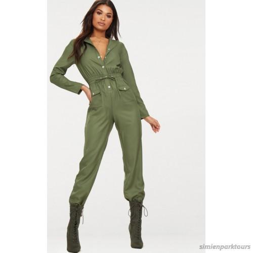 PrettyLittleThing Khaki Utility Jumpsuit - Khaki - Womens .