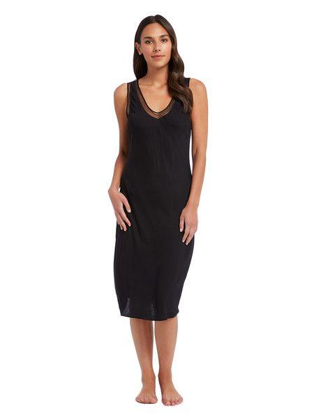Acapella Mesh Trim Midi Slip, Black - C | Sleepwear women, Womens .
