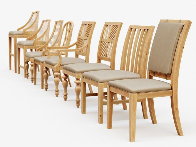 3D model Classic Wooden Chairs Set | CGTrad
