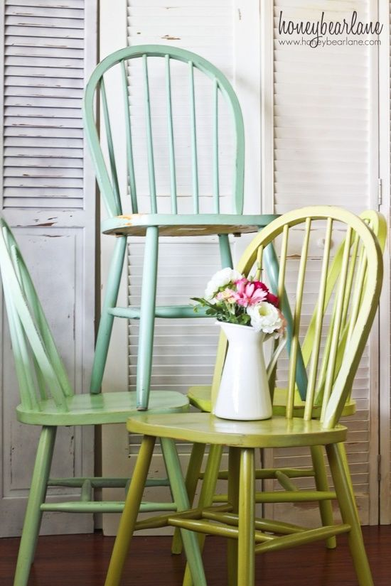 Ombre Windsor Chairs | Painted wooden chairs, Old wooden chairs .