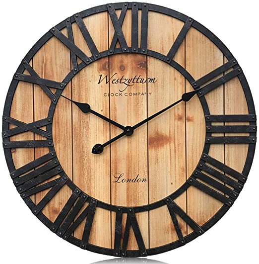 Amazon.com: Westzytturm Wall Clock Wooden Frame,Oversized .