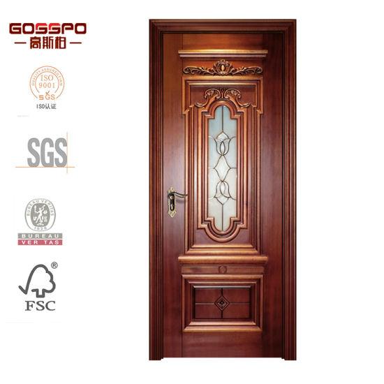 China Kitchen Interior Craft Glass Solid Oak Wood Door Design .