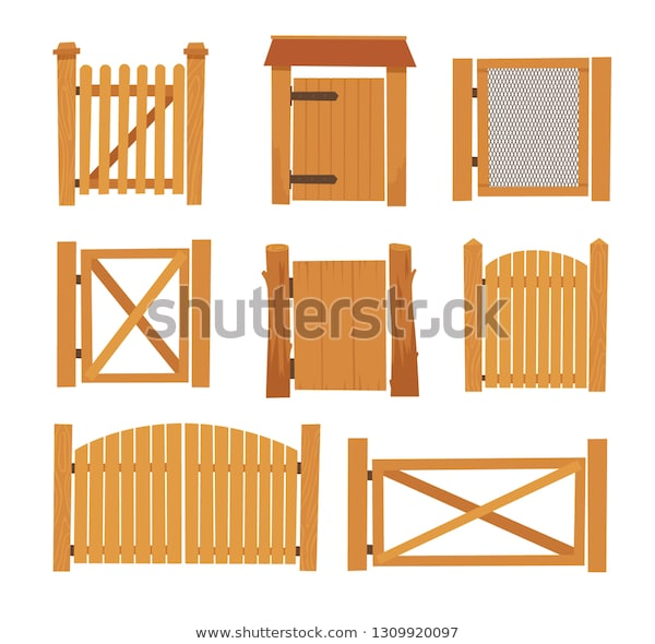 Wooden Gate Set Different Designs Village Stock Vector (Royalty .