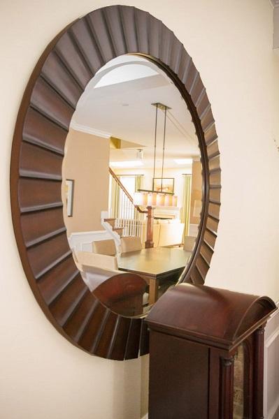 Philadelphia Interior Design Glenna Stone textured mirror wooden .