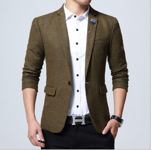 Mens Wool Blazers Jackets Khaki Green Blue Plaid Casual Blazer Men .