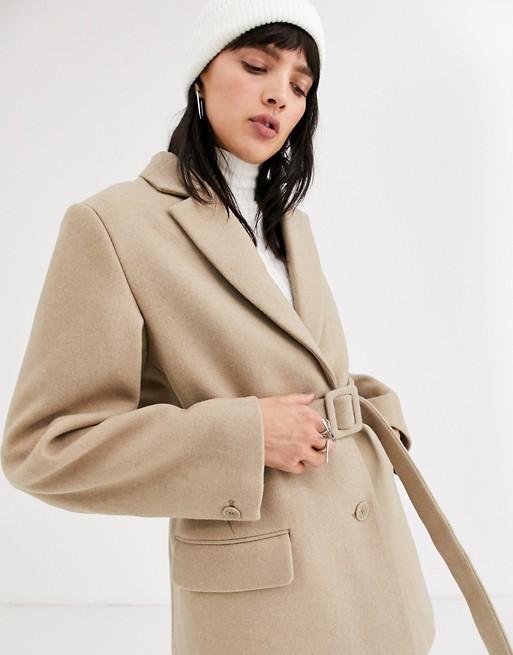 Weekday belted wool blazer in beige | AS