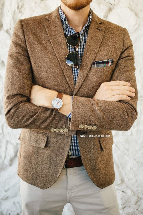 Men's Brown Wool Blazer, Navy and White Gingham Long Sleeve Shirt .