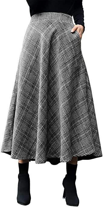 IDEALSANXUN Womens Plaid Wool Skirts Elastic Waist A-Line Pleated .