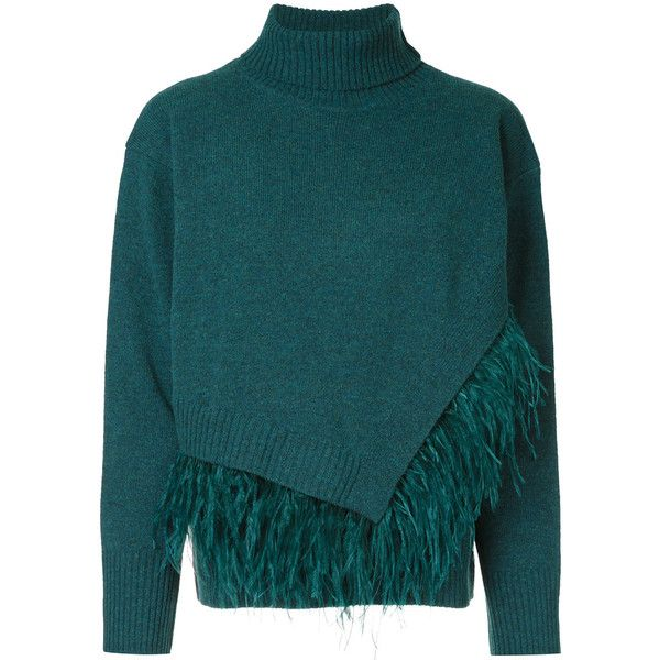 Le Ciel Bleu fringed knitted sweater ($181) ❤ liked on Polyvore .