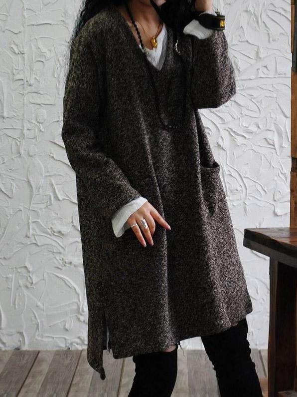 Loose V-neck Woolen Tops – moong