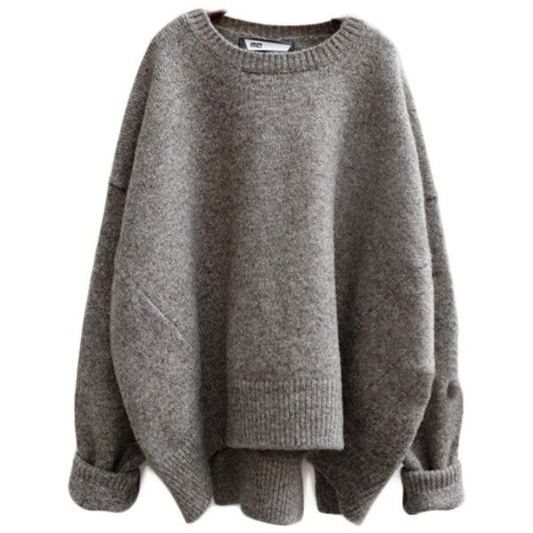 Loose Wool O-neck Sweater ($59) ❤ liked on Polyvore featuring .