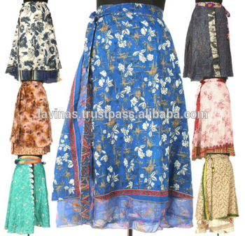 Silk Sari Wrap Around Skirt Magic Two Layer Skirts - Buy Indian .