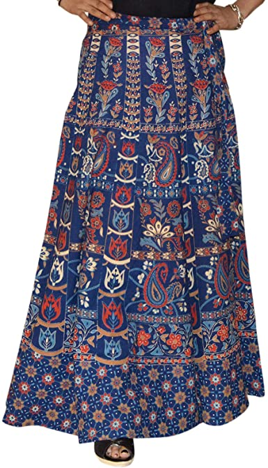 Marusthali Wrap Skirt Printed Cotton Gypsy Sarong Wrap Around .