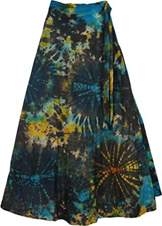 TLB Roma Bohemian Wrap Around Long Skirt - Black Tie Dye L: 37.5 .