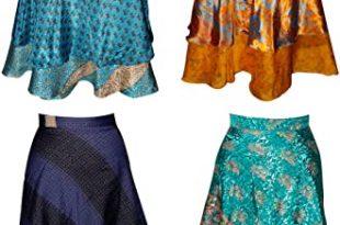 Wholesale Lot of 3 Vintage Sari 2 Layer Magic Wrap Skirt Multi .