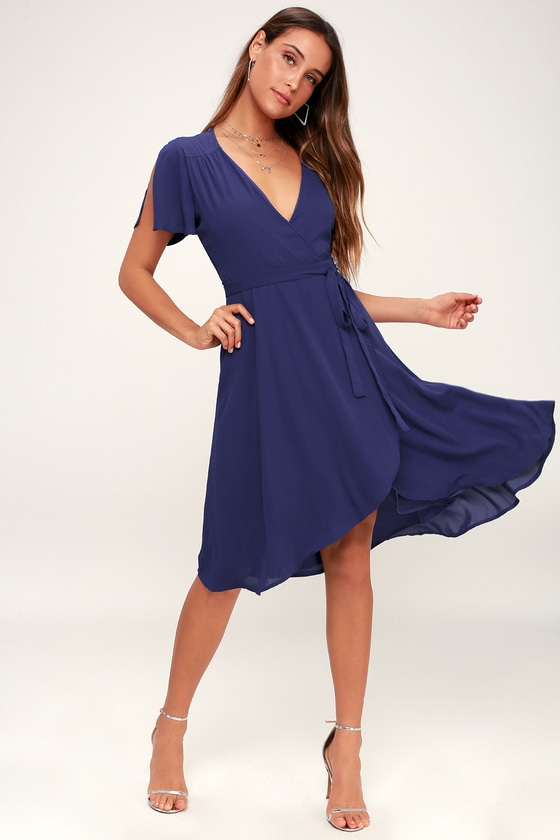 Lovely Royal Blue Wrap Dress - Midi Wrap Dress - Midi Dre