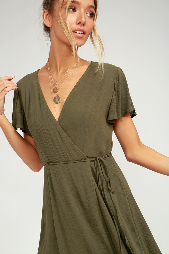 Cute Olive Green Dress - Wrap Dress - Short Sleeve Dre