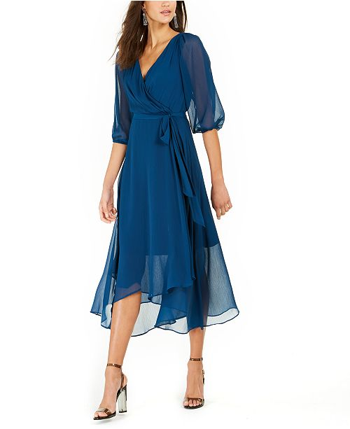 NY Collection Petite Crinkle Chiffon Faux-Wrap Dress & Reviews .