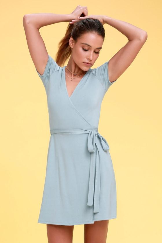 Cute Light Blue Wrap Dress - Jersey Wrap Dre