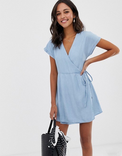 ASOS DESIGN denim wrap dress in lightwash blue | AS