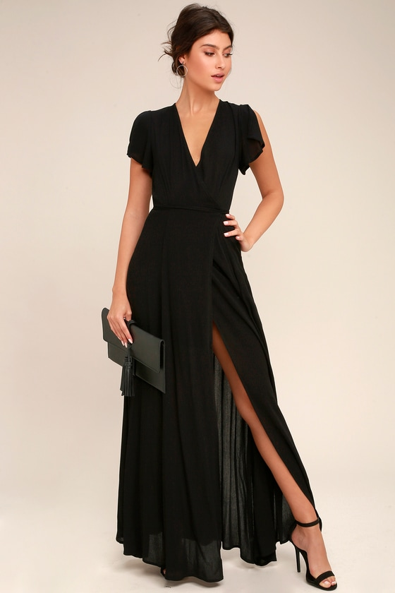 Lovely Wrap Dress - Black Dress - Maxi Dre